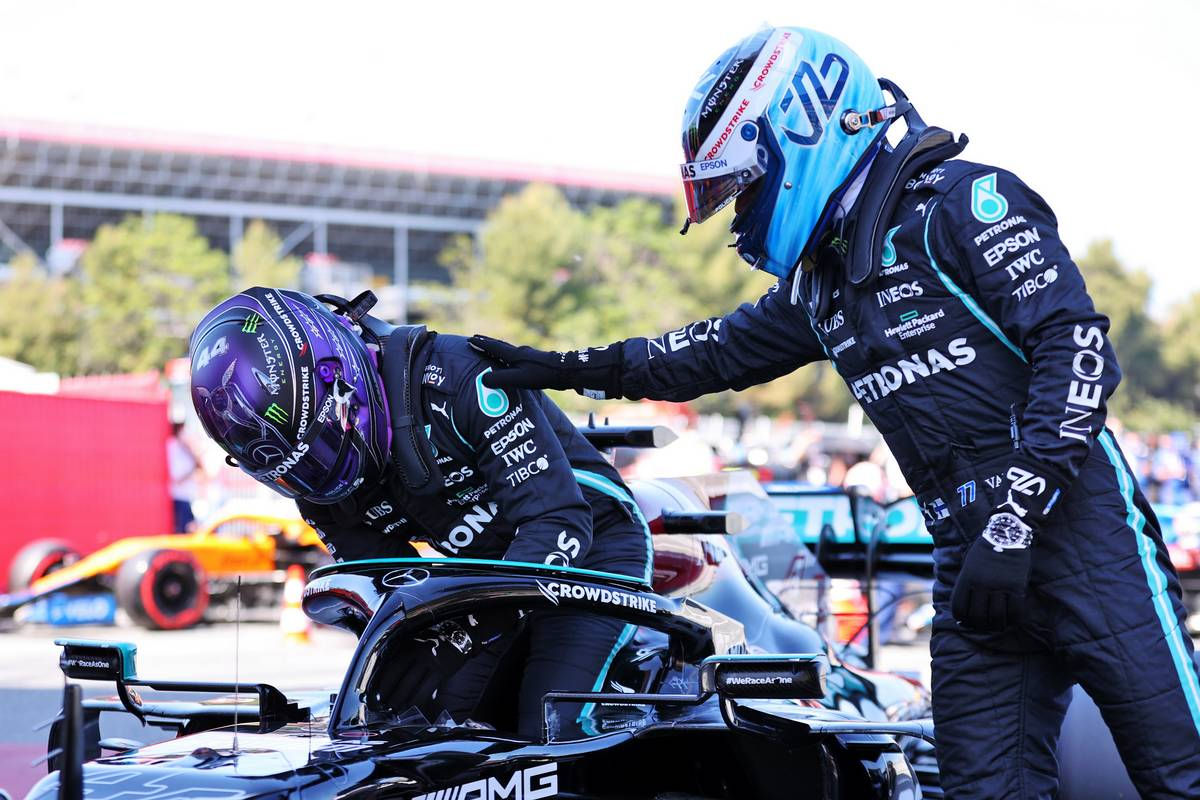 Pole sitter Lewis Hamilton (GBR) Mercedes AMG F1 W12 in qualifying parc ferme with team mate Valtteri Bottas (FIN) Mercedes AMG F1. 08.05.2021. Formula 1 World Championship, Rd 4, Spanish Grand Prix, Barcelona