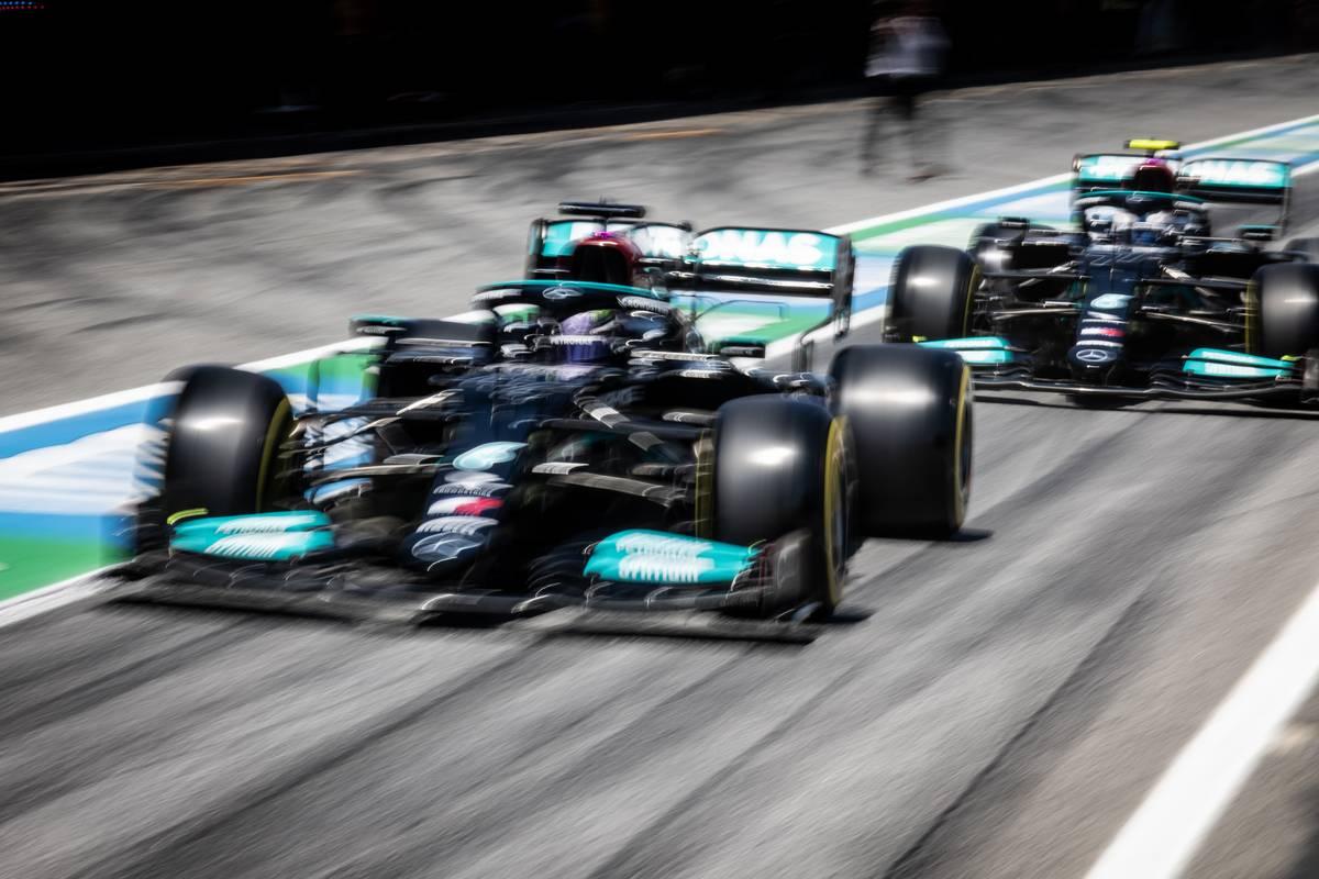 Lewis Hamilton (GBR) Mercedes AMG F1 W12 and Valtteri Bottas (FIN) Mercedes AMG F1 W12. 08.05.2021. Formula 1 World Championship, Rd 4, Spanish Grand Prix, Barcelona