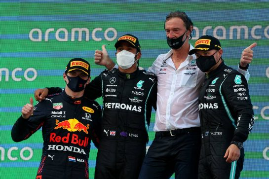 1st place Lewis Hamilton (GBR) Mercedes AMG F1 W12, with 2nd place Max Verstappen (NLD) Red Bull Racing RB16B, 3rd place Valtteri Bottas (FIN) Mercedes AMG F1 W12 and Sir Jim Ratcliffe Chief Executive Officer of Ineos. 09.05.2021. Formula 1 World Championship, Rd 4, Spanish Grand Prix, Barcelona, Spain, Race Day. - www.xpbimages.com, EMail: requests@xpbimages.com © Copyright: Batchelor / XPB Images