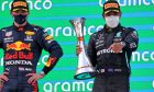 Race winner Lewis Hamilton (GBR) Mercedes AMG F1 celebrates on the podium with Max Verstappen (NLD) Red Bull Racing (Left). 09.05.2021. Formula 1 World Championship, Rd 4, Spanish Grand Prix, Barcelona