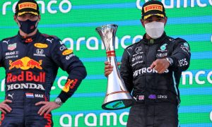 Race winner Lewis Hamilton (GBR) Mercedes AMG F1 celebrates on the podium with Max Verstappen (NLD) Red Bull Racing (Left). 09.05.2021. Formula 1 World Championship, Rd 4, Spanish Grand Prix, Barcelona