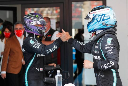 (L to R): Race winner Lewis Hamilton (GBR) Mercedes AMG F1 in parc ferme with third placed team mate Valtteri Bottas (FIN) Mercedes AMG F1. 09.05.2021. Formula 1 World Championship, Rd 4, Spanish Grand Prix, Barcelona, Spain, Race Day. - www.xpbimages.com, EMail: requests@xpbimages.com © Copyright: FIA Pool Image for Editorial Use Only