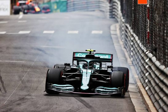 Sebastian Vettel (GER) Aston Martin F1 Team AMR21 locks up under braking. 22.05.2021. Formula 1 World Championship, Rd 5, Monaco Grand Prix, Monte Carlo, Monaco, Qualifying Day. - www.xpbimages.com, EMail: requests@xpbimages.com © Copyright: Moy / XPB Images