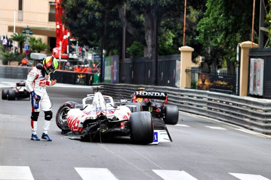 Mick Schumacher (GER) Haas VF-21 crashed in the third practice session. 22.05.2021. Formula 1 World Championship, Rd 5, Monaco Grand Prix, Monte Carlo, Monaco, Qualifying Day. - www.xpbimages.com, EMail: requests@xpbimages.com © Copyright: Moy / XPB Images
