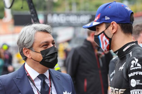 (L to R): Luca de Meo (ITA) Groupe Renault Chief Executive Officer with Esteban Ocon (FRA) Alpine F1 Team. 22.05.2021. Formula 1 World Championship, Rd 5, Monaco Grand Prix, Monte Carlo, Monaco, Qualifying Day. - www.xpbimages.com, EMail: requests@xpbimages.com © Copyright: Charniaux / XPB Images