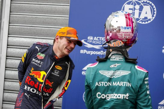Max Verstappen (NLD) Red Bull Racing in qualifying parc ferme with Sebastian Vettel (GER) Aston Martin F1 Team. 22.05.2021. Formula 1 World Championship, Rd 5, Monaco Grand Prix, Monte Carlo, Monaco, Qualifying Day. - www.xpbimages.com, EMail: requests@xpbimages.com © Copyright: FIA Pool Image for Editorial Use Only