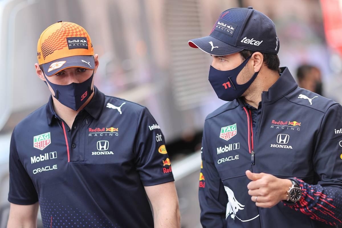 Max Verstappen (NLD) Red Bull Racing with Sergio Perez (MEX) Red Bull Racing. 23.05.2021. Formula 1 World Championship, Rd 5, Monaco Grand Prix