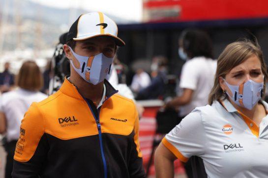 Lando Norris (GBR) McLaren. 23.05.2021. Formula 1 World Championship, Rd 5, Monaco Grand Prix, Monte Carlo, Monaco, Race Day. - www.xpbimages.com, EMail: requests@xpbimages.com © Copyright: Bearne / XPB Images