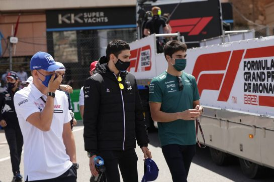 (L to R): Mick Schumacher (GER) Haas F1 Team with Esteban Ocon (FRA) Alpine F1 Team A521 and Lance Stroll (CDN) Aston Martin F1 Team. 23.05.2021. Formula 1 World Championship, Rd 5, Monaco Grand Prix, Monte Carlo, Monaco, Race Day. - www.xpbimages.com, EMail: requests@xpbimages.com © Copyright: Bearne / XPB Images