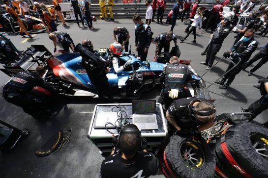Esteban Ocon (FRA) Alpine F1 Team A521 on the grid. 23.05.2021. Formula 1 World Championship, Rd 5, Monaco Grand Prix, Monte Carlo, Monaco, Race Day. - www.xpbimages.com, EMail: requests@xpbimages.com © Copyright: Bearne / XPB Images