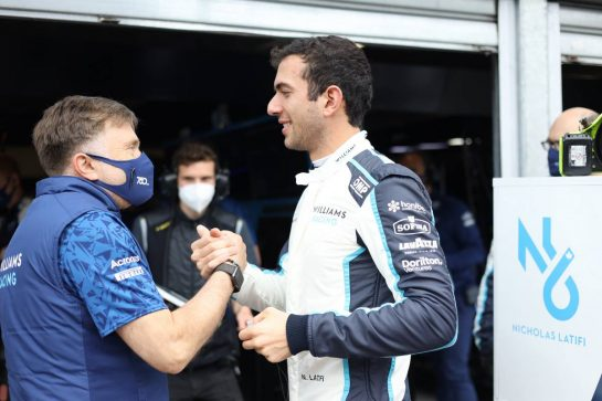 Nicholas Latifi (CDN) Williams Racing with Jost Capito (GER) Williams Racing Chief Executive Officer. 23.05.2021. Formula 1 World Championship, Rd 5, Monaco Grand Prix, Monte Carlo, Monaco, Race Day. - www.xpbimages.com, EMail: requests@xpbimages.com © Copyright: Bearne / XPB Images