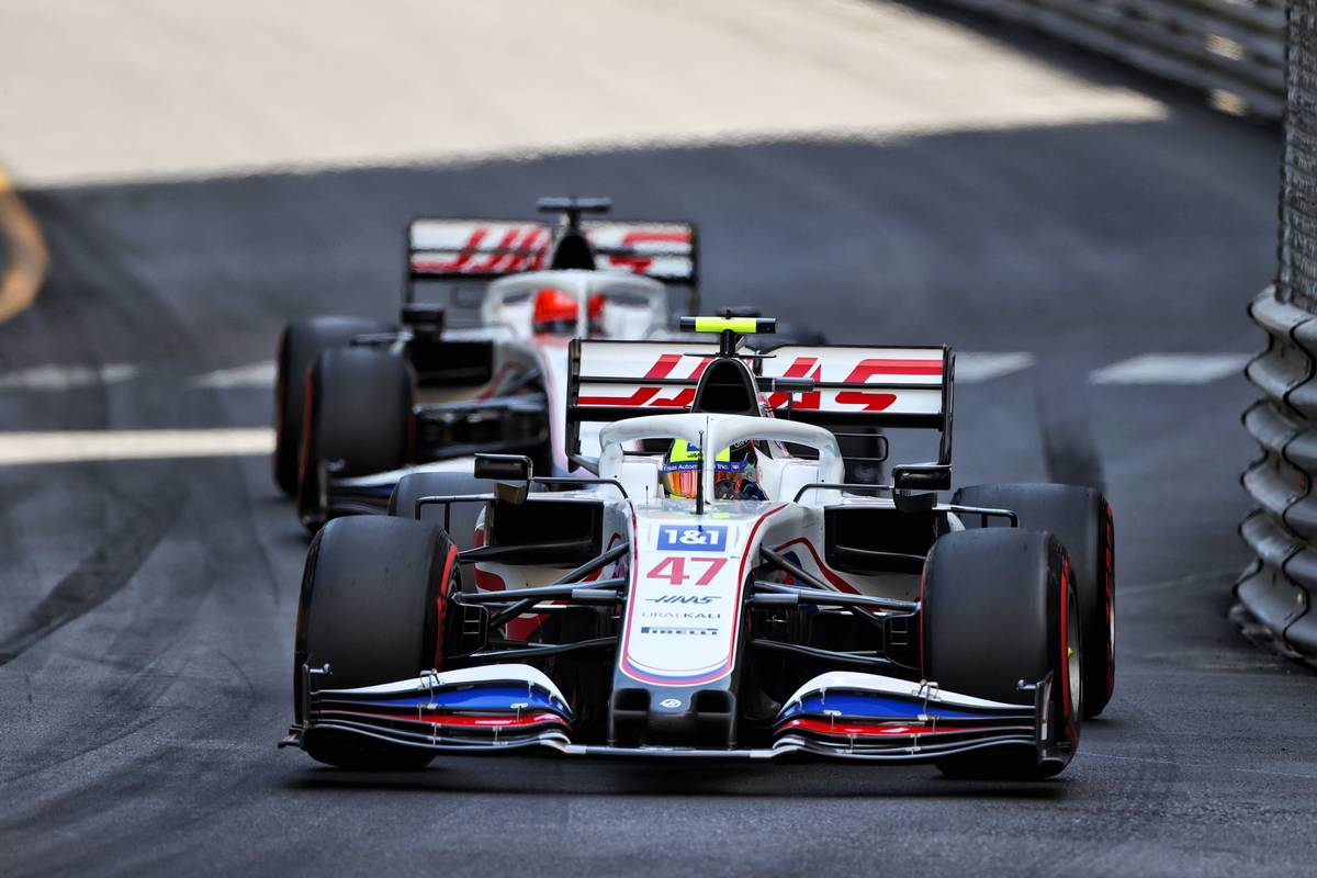 Mick Schumacher (GER) Haas VF-21 leads team mate Nikita Mazepin (RUS) Haas F1 Team VF-21. 23.05.2021. Formula 1 World Championship, Rd 5, Monaco Grand Prix, Monte Carlo