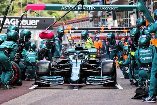 Sebastian Vettel (GER) Aston Martin F1 Team AMR21 makes a pit stop. 23.05.2021. Formula 1 World Championship, Rd 5, Monaco Grand Prix, Monte Carlo, Monaco, Race Day. - www.xpbimages.com, EMail: requests@xpbimages.com © Copyright: Charniaux / XPB Images