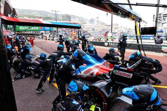Fernando Alonso (ESP) Alpine F1 Team A521 makes a pit stop. 23.05.2021. Formula 1 World Championship, Rd 5, Monaco Grand Prix, Monte Carlo, Monaco, Race Day. - www.xpbimages.com, EMail: requests@xpbimages.com © Copyright: Charniaux / XPB Images