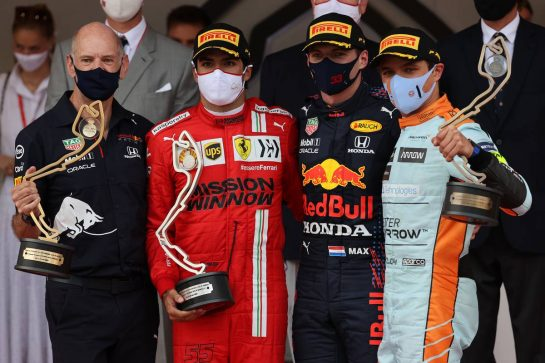 Adrian Newey (GBR) Red Bull Racing Chief Technical Officer with 2nd place Carlos Sainz Jr (ESP) Ferrari, 1st place Max Verstappen (NLD) Red Bull Racing RB16B and 3rd place Lando Norris (GBR) McLaren. 23.05.2021. Formula 1 World Championship, Rd 5, Monaco Grand Prix, Monte Carlo, Monaco, Race Day. - www.xpbimages.com, EMail: requests@xpbimages.com © Copyright: Batchelor / XPB Images