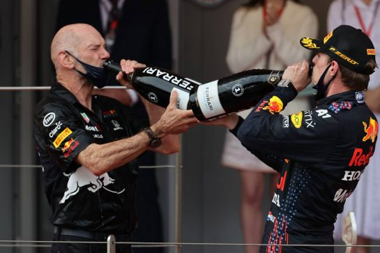 Adrian Newey (GBR) Red Bull Racing Chief Technical Officer with 1st place Max Verstappen (NLD) Red Bull Racing RB16B.23.05.2021. Formula 1 World Championship, Rd 5, Monaco Grand Prix, Monte Carlo, Monaco, Race Day.- www.xpbimages.com, EMail: requests@xpbimages.com © Copyright: Batchelor / XPB Images