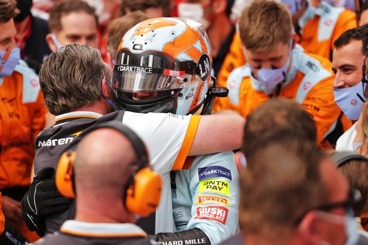 Lando Norris (GBR) McLaren celebrates his third position in parc ferme with Zak Brown (USA) McLaren Executive Director. 23.05.2021. Formula 1 World Championship, Rd 5, Monaco Grand Prix, Monte Carlo, Monaco