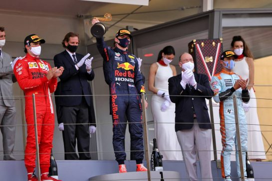 Race winner Max Verstappen (NLD) Red Bull Racing celebrates on the podium. 23.05.2021. Formula 1 World Championship, Rd 5, Monaco Grand Prix, Monte Carlo, Monaco, Race Day. - www.xpbimages.com, EMail: requests@xpbimages.com © Copyright: Bearne / XPB Images