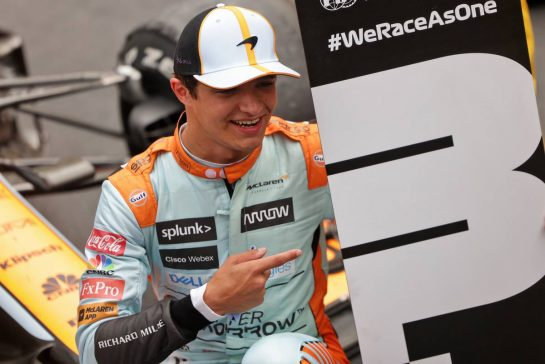 Lando Norris (GBR) McLaren celebrates his third position in parc ferme. 23.05.2021. Formula 1 World Championship, Rd 5, Monaco Grand Prix, Monte Carlo, Monaco, Race Day. - www.xpbimages.com, EMail: requests@xpbimages.com © Copyright: Bearne / XPB Images