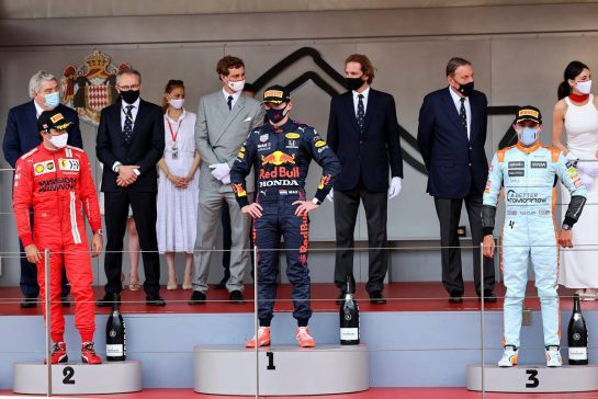 The podium (L to R): Max Verstappen (NLD) Red Bull Racing, second; Lewis Hamilton (GBR) Mercedes AMG F1, race winner; Valtteri Bottas (FIN) Mercedes AMG F1, third. 23.05.2021. Formula 1 World Championship, Rd 5, Monaco Grand Prix, Monte Carlo, Monaco, Race Day. - www.xpbimages.com, EMail: requests@xpbimages.com © Copyright: Batchelor / XPB Images