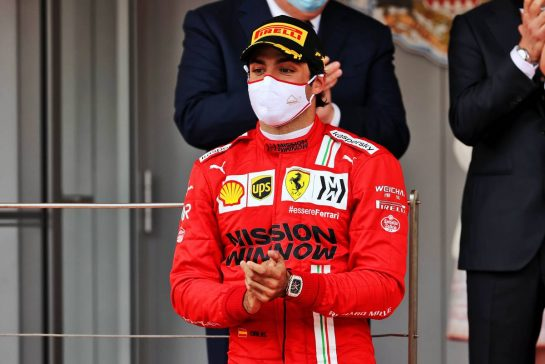 Carlos Sainz Jr (ESP) Ferrari celebrates his second position on the podium. 23.05.2021. Formula 1 World Championship, Rd 5, Monaco Grand Prix, Monte Carlo, Monaco, Race Day. - www.xpbimages.com, EMail: requests@xpbimages.com © Copyright: Batchelor / XPB Images