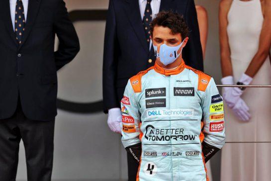 Third placed Lando Norris (GBR) McLaren on the podium. 23.05.2021. Formula 1 World Championship, Rd 5, Monaco Grand Prix, Monte Carlo, Monaco, Race Day. - www.xpbimages.com, EMail: requests@xpbimages.com © Copyright: Batchelor / XPB Images