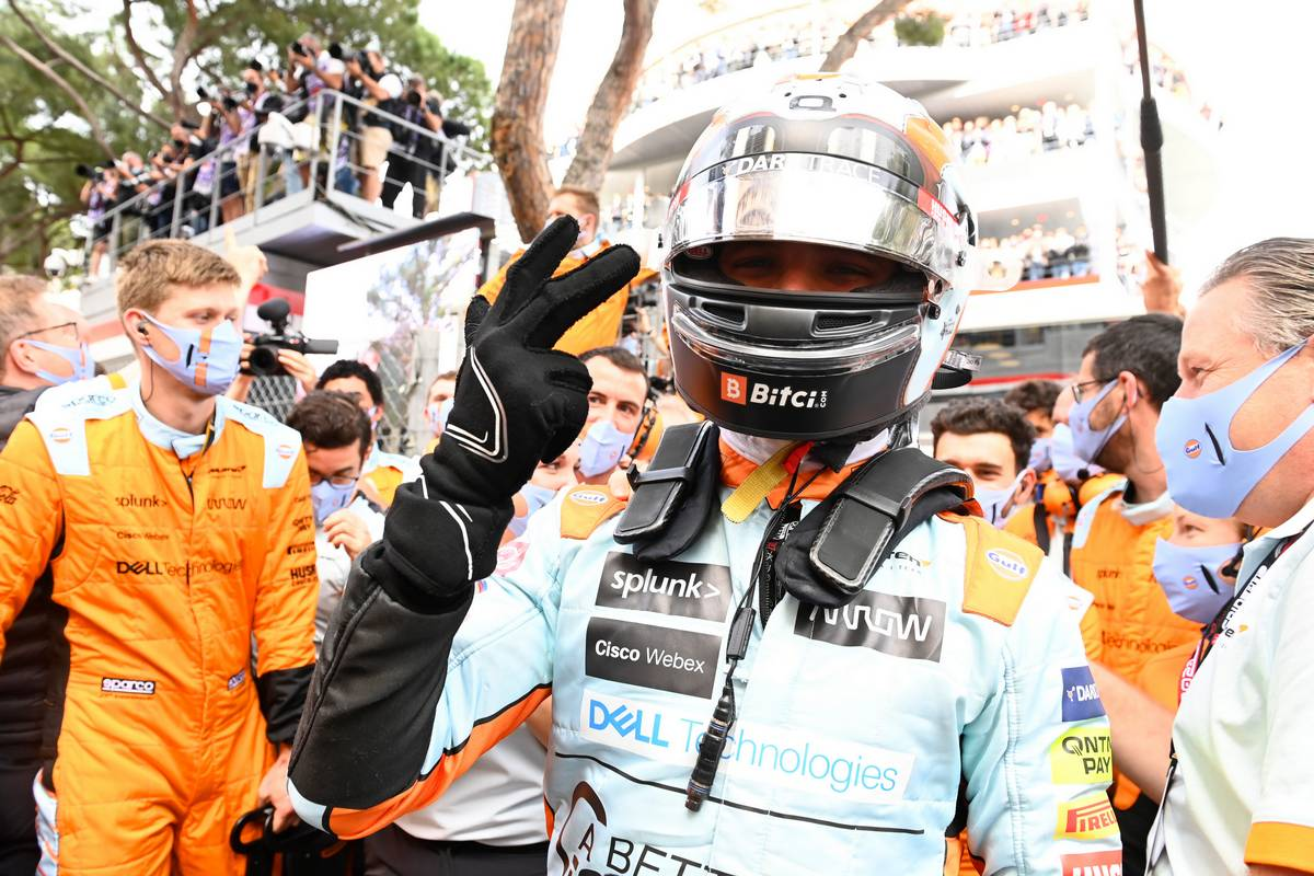 Lando Norris (GBR) McLaren celebrates his third position in parc ferme. 23.05.2021. Formula 1 World Championship, Rd 5, Monaco Grand Prix, Monte Carlo