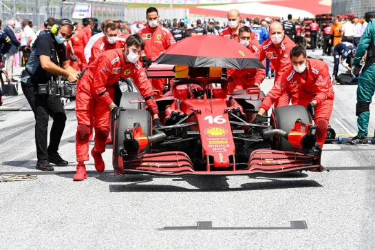 Charles Leclerc (MON) Ferrari SF-21 on the grid. 27.06.2021. Formula 1 World Championship, Rd 8, Steiermark Grand Prix, Spielberg, Austria, Race Day. - www.xpbimages.com, EMail: requests@xpbimages.com © Copyright: FIA Pool Image for Editorial Use Only