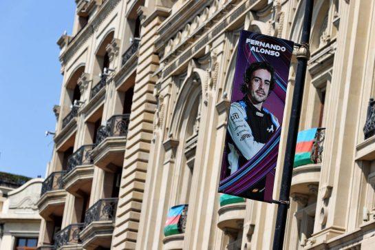 Circuit atmosphere - Fernando Alonso (ESP) Alpine F1 Team poster. 03.06.2021. Formula 1 World Championship, Rd 6, Azerbaijan Grand Prix, Baku Street Circuit, Azerbaijan, Preparation Day. - www.xpbimages.com, EMail: requests@xpbimages.com © Copyright: Moy / XPB Images