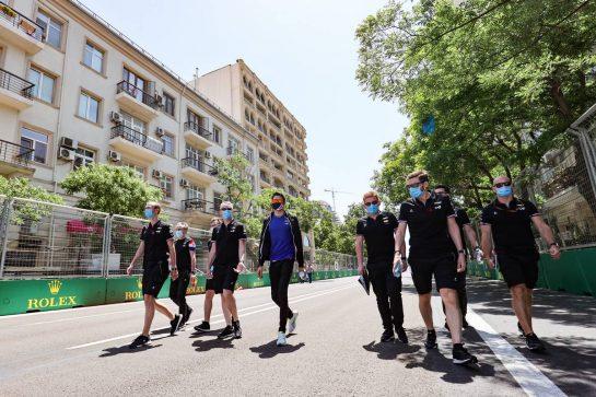 Esteban Ocon (FRA) Alpine F1 Team walks the circuit with the team. 03.06.2021. Formula 1 World Championship, Rd 6, Azerbaijan Grand Prix, Baku Street Circuit, Azerbaijan, Preparation Day. - www.xpbimages.com, EMail: requests@xpbimages.com © Copyright: Charniaux / XPB Images