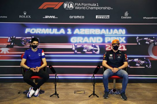 (L to R): Esteban Ocon (FRA) Alpine F1 Team and Max Verstappen (NLD) Red Bull Racing in the FIA Press Conference. 03.06.2021. Formula 1 World Championship, Rd 6, Azerbaijan Grand Prix, Baku Street Circuit, Azerbaijan, Preparation Day. - www.xpbimages.com, EMail: requests@xpbimages.com © Copyright: FIA Pool Image for Editorial Use Only