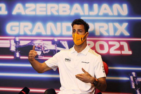 Daniel Ricciardo (AUS) McLaren in the FIA Press Conference. 03.06.2021. Formula 1 World Championship, Rd 6, Azerbaijan Grand Prix, Baku Street Circuit, Azerbaijan, Preparation Day. - www.xpbimages.com, EMail: requests@xpbimages.com © Copyright: FIA Pool Image for Editorial Use Only