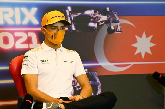 Lando Norris (GBR) McLaren in the FIA Press Conference. 03.06.2021. Formula 1 World Championship, Rd 6, Azerbaijan Grand Prix, Baku Street Circuit, Azerbaijan, Preparation Day. - www.xpbimages.com, EMail: requests@xpbimages.com © Copyright: FIA Pool Image for Editorial Use Only