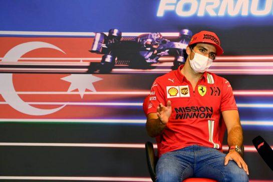 Carlos Sainz Jr (ESP) Ferrari in the FIA Press Conference. 03.06.2021. Formula 1 World Championship, Rd 6, Azerbaijan Grand Prix, Baku Street Circuit, Azerbaijan, Preparation Day. - www.xpbimages.com, EMail: requests@xpbimages.com © Copyright: FIA Pool Image for Editorial Use Only