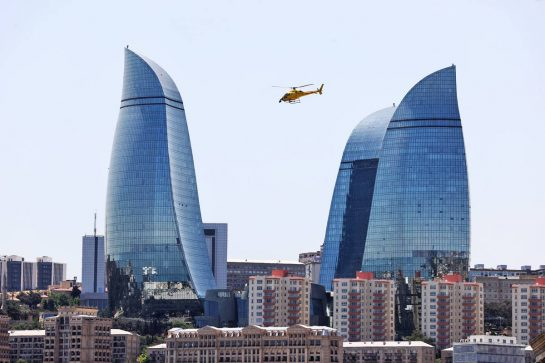 Scenic Baku - TV helicopter. 05.06.2021. Formula 1 World Championship, Rd 6, Azerbaijan Grand Prix, Baku Street Circuit, Azerbaijan, Qualifying Day. - www.xpbimages.com, EMail: requests@xpbimages.com © Copyright: Moy / XPB Images