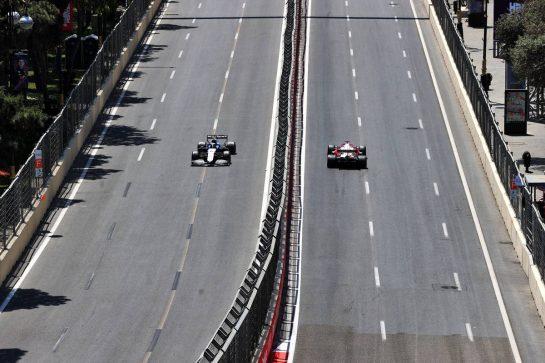 Nicholas Latifi (CDN) Williams Racing FW43B and Kimi Raikkonen (FIN) Alfa Romeo Racing C41. 05.06.2021. Formula 1 World Championship, Rd 6, Azerbaijan Grand Prix, Baku Street Circuit, Azerbaijan, Qualifying Day. - www.xpbimages.com, EMail: requests@xpbimages.com © Copyright: Moy / XPB Images