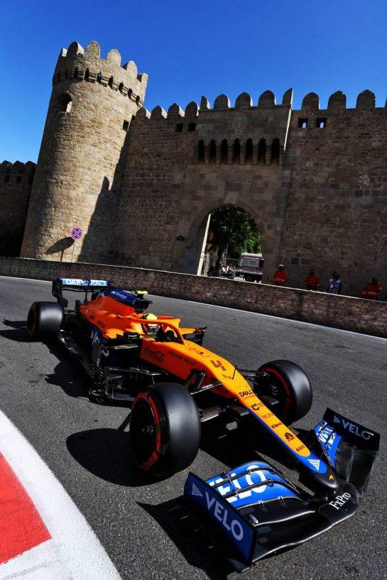 Lando Norris (GBR) McLaren MCL35M. 05.06.2021. Formula 1 World Championship, Rd 6, Azerbaijan Grand Prix, Baku Street Circuit, Azerbaijan, Qualifying Day. - www.xpbimages.com, EMail: requests@xpbimages.com © Copyright: Moy / XPB Images