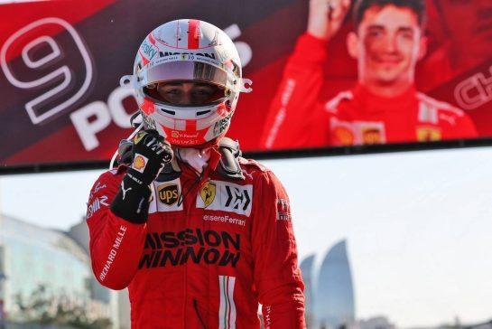 Charles Leclerc (MON) Ferrari celebrates his pole position in qualifying parc ferme. 05.06.2021. Formula 1 World Championship, Rd 6, Azerbaijan Grand Prix, Baku Street Circuit, Azerbaijan, Qualifying Day. - www.xpbimages.com, EMail: requests@xpbimages.com © Copyright: Batchelor / XPB Images