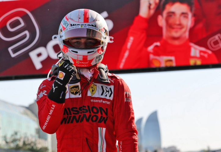 Charles Leclerc (MON) Ferrari celebrates his pole position in qualifying parc ferme. 05.06.2021. Formula 1 World Championship, Rd 6, Azerbaijan Grand Prix, Baku