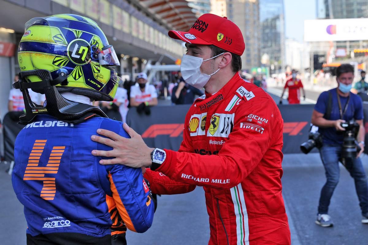 Charles Leclerc (MON) Ferrari (Right) celebrates his pole position in qualifying parc ferme with Lando Norris (GBR) McLaren. 05.06.2021. Formula 1 World Championship, Rd 6, Azerbaijan Grand Prix, Baku