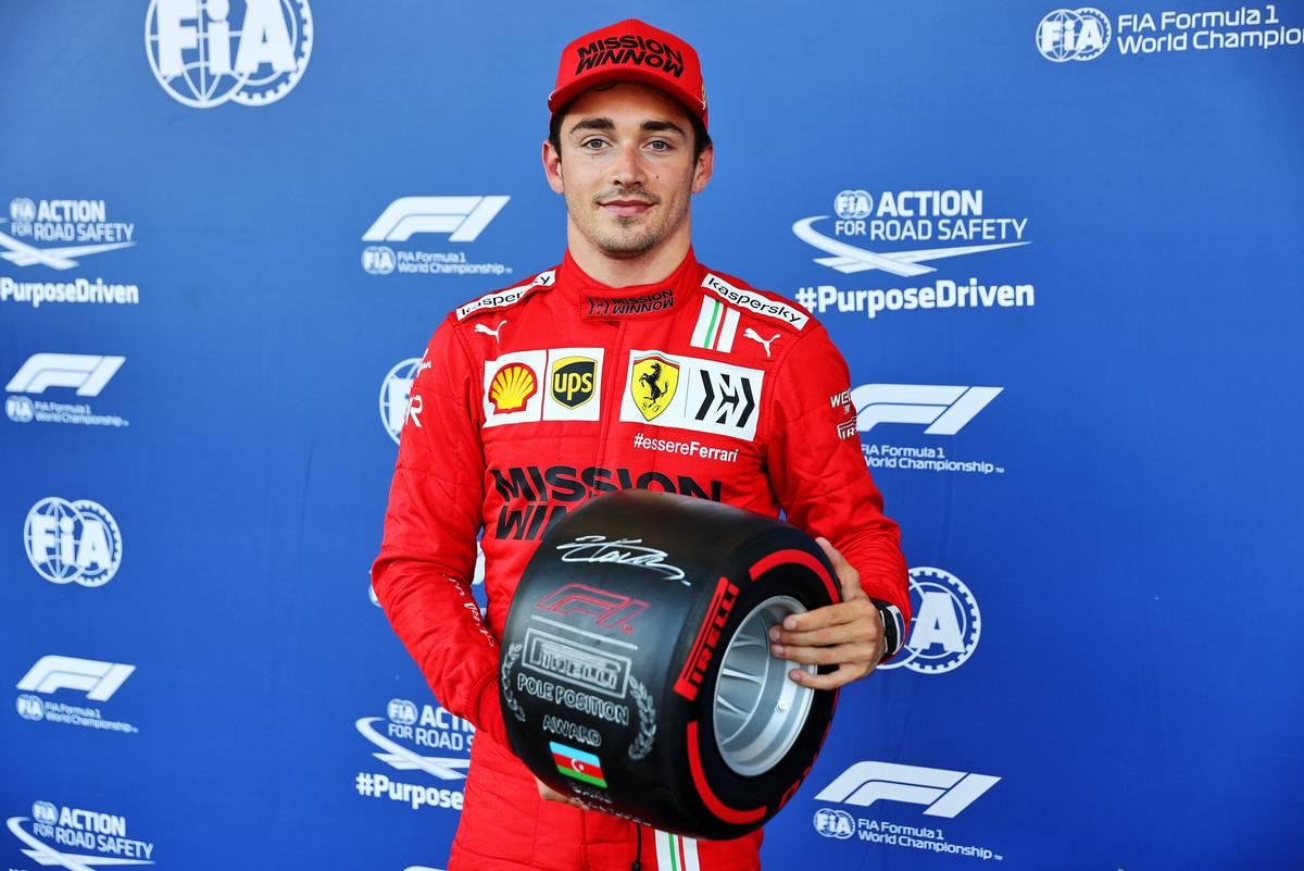 Charles Leclerc (MON) Ferrari with the Pirelli Pole Position Award in parc ferme. 05.06.2021. Formula 1 World Championship, Rd 6, Azerbaijan Grand Prix, Baku