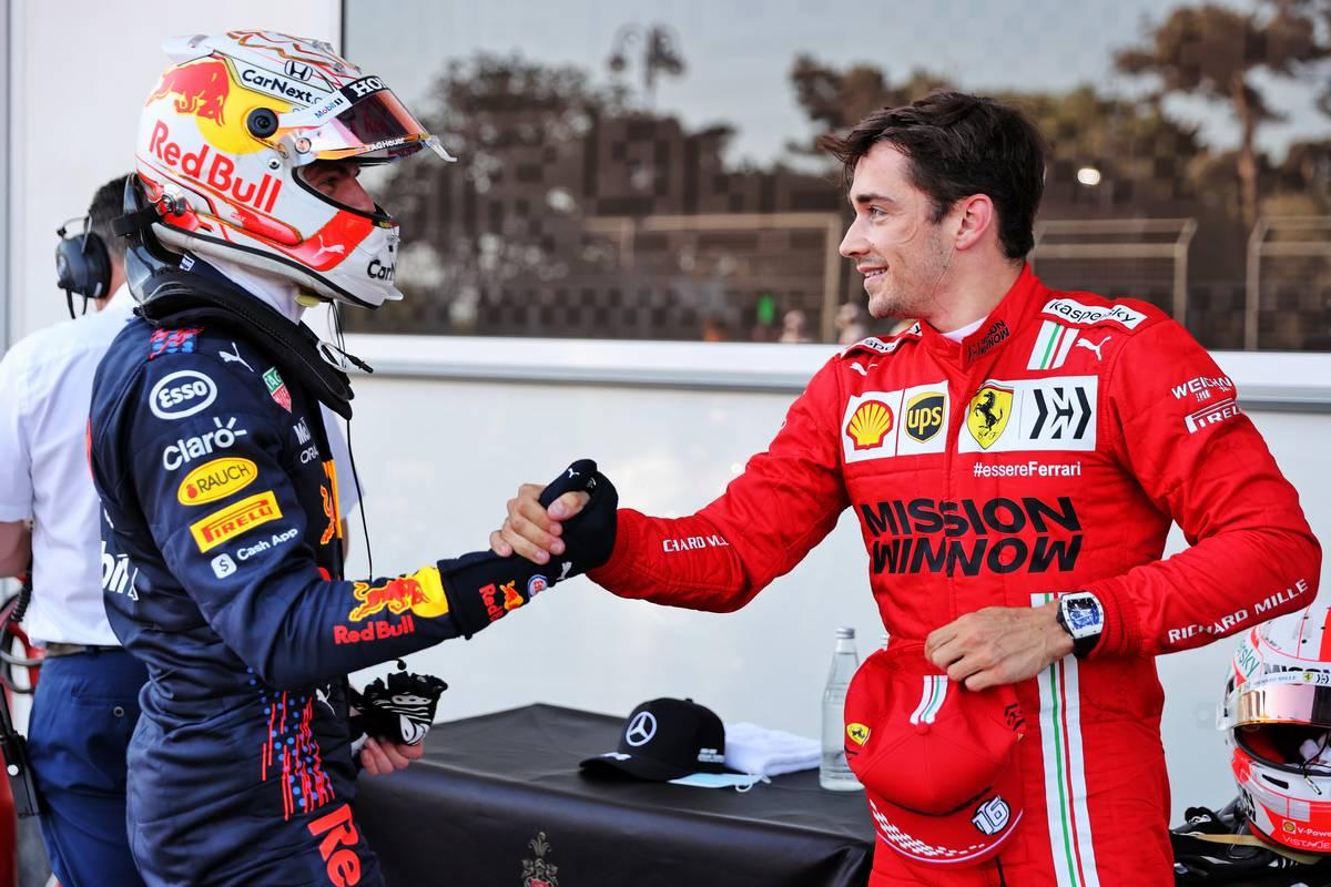 Charles Leclerc (MON) Ferrari (Right) celebrates his pole position in qualifying parc ferme with Max Verstappen (NLD) Red Bull Racing. 05.06.2021. Formula 1 World Championship, Rd 6, Azerbaijan Grand Prix, Baku