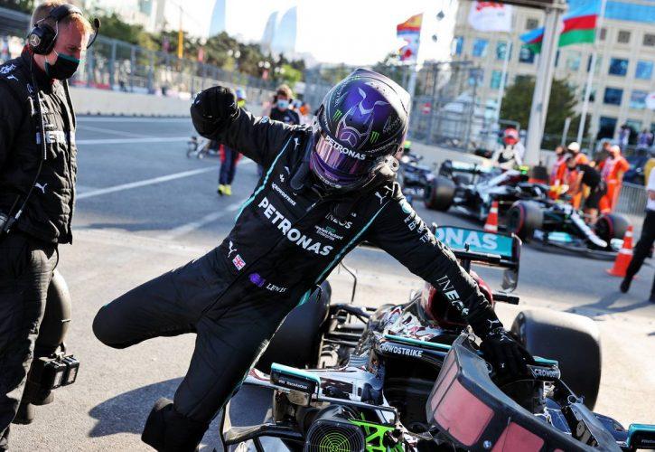 Lewis Hamilton (GBR) Mercedes AMG F1 W12 in qualifying parc ferme. 05.06.2021. Formula 1 World Championship, Rd 6, Azerbaijan Grand Prix, Baku