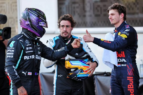 (L to R): Lewis Hamilton (GBR) Mercedes AMG F1 with Fernando Alonso (ESP) Alpine F1 Team and Max Verstappen (NLD) Red Bull Racing in qualifying parc ferme. 05.06.2021. Formula 1 World Championship, Rd 6, Azerbaijan Grand Prix, Baku Street Circuit, Azerbaijan, Qualifying Day. - www.xpbimages.com, EMail: requests@xpbimages.com © Copyright: Batchelor / XPB Images