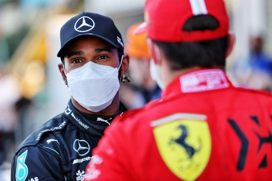 (L to R): Lewis Hamilton (GBR) Mercedes AMG F1 with Charles Leclerc (MON) Ferrari in qualifying parc ferme. 05.06.2021. Formula 1 World Championship, Rd 6, Azerbaijan Grand Prix, Baku Street Circuit, Azerbaijan, Qualifying Day. - www.xpbimages.com, EMail: requests@xpbimages.com © Copyright: Batchelor / XPB Images