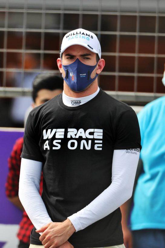 Nicholas Latifi (CDN) Williams Racing on the grid. 06.06.2021. Formula 1 World Championship, Rd 6, Azerbaijan Grand Prix, Baku Street Circuit, Azerbaijan, Race Day. - www.xpbimages.com, EMail: requests@xpbimages.com © Copyright: Batchelor / XPB Images