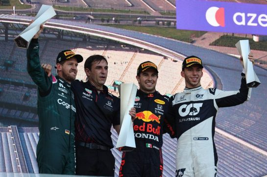 1st place Sergio Perez (MEX) Red Bull Racing RB16B, 2nd place Sebastian Vettel (GER) Aston Martin F1 Team AMR21 and 3rd place Pierre Gasly (FRA) AlphaTauri AT02.06.06.2021. Formula 1 World Championship, Rd 6, Azerbaijan Grand Prix, Baku Street Circuit, Azerbaijan, Race Day.- www.xpbimages.com, EMail: requests@xpbimages.com © Copyright: Batchelor / XPB Images