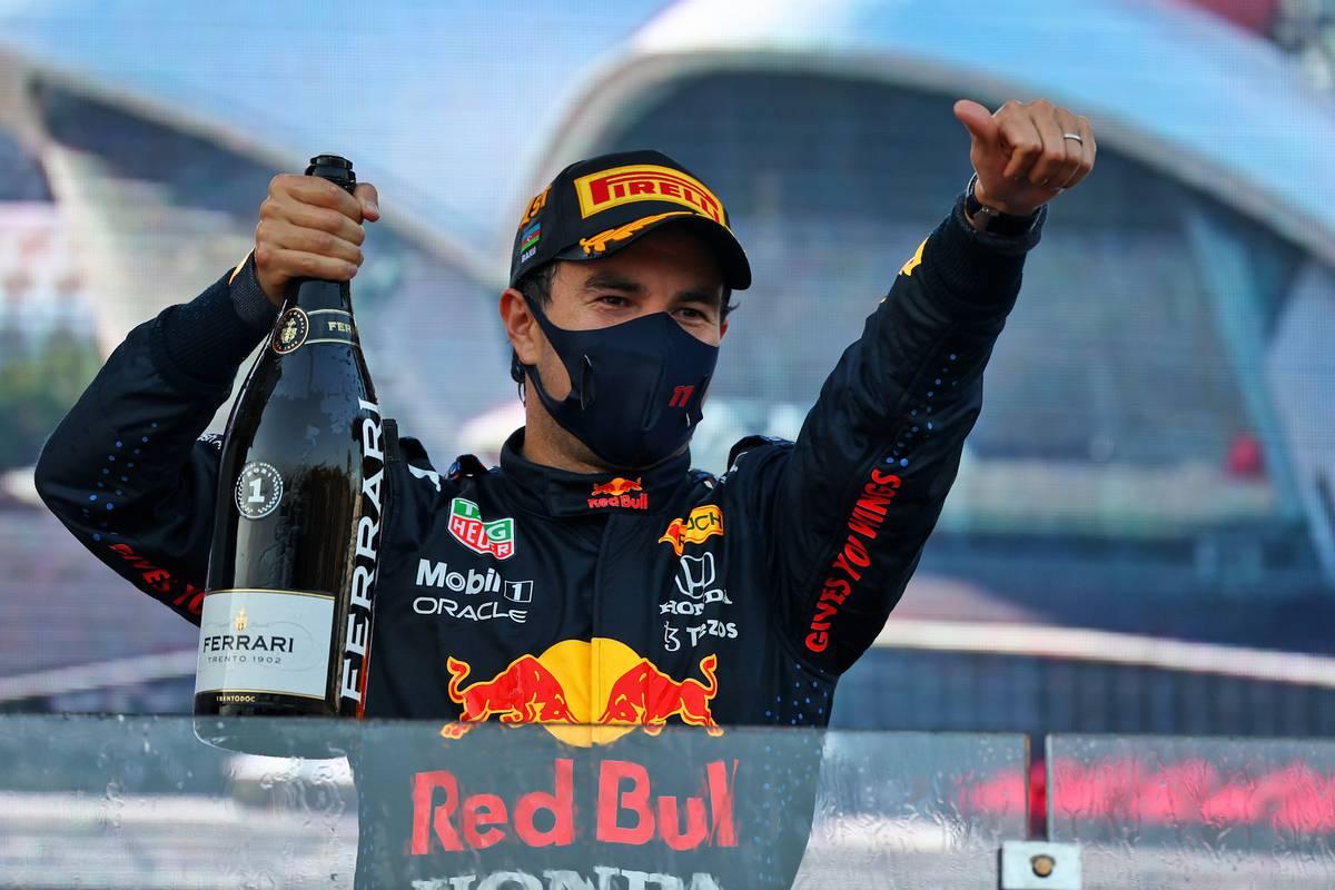 Race winner Sergio Perez (MEX) Red Bull Racing celebrates on the podium. 06.06.2021. Formula 1 World Championship, Rd 6, Azerbaijan Grand Prix, Baku