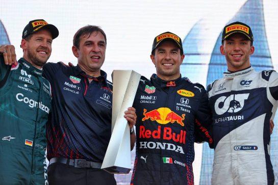 The podium (L to R): Sebastian Vettel (GER) Aston Martin F1 Team; second; Pierre Wache (FRA) Red Bull Racing Technical Director; Sergio Perez (MEX) Red Bull Racing, race winner; Pierre Gasly (FRA) AlphaTauri, third. 06.06.2021. Formula 1 World Championship, Rd 6, Azerbaijan Grand Prix, Baku Street Circuit, Azerbaijan, Race Day. - www.xpbimages.com, EMail: requests@xpbimages.com © Copyright: Moy / XPB Images