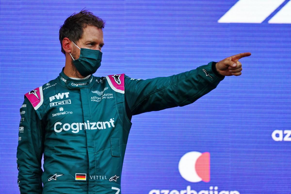 Sebastian Vettel (GER) Aston Martin F1 Team celebrates his second position on the podium. 06.06.2021. Formula 1 World Championship, Rd 6, Azerbaijan Grand Prix, Baku